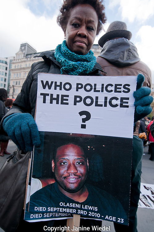The 14th Annual  Friends & Family Campaign protest against death in custody 2012. Olaseni Lewis died in police custody age 23 in 2010.