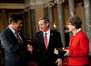Nov 29, 2010 - Washington, District of Columbia, U.S. - Sen.-Elect MARK KIRK, (R-IL) is greated by Rep. DARRELL ISSA (R-CA) on Monday, before a re-enactment of Kirk's swearing-in ceremony at the Old Senate Chamber in the U.S. Capitol..(Credit Image: © Pete Marovich/ZUMA Press)