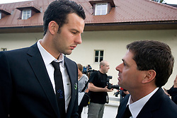 Samir Handanovic and Martin Magister at official presentation of Slovenian National Football team for World Cup 2010 South Africa, on May 21, 2010 in Congress Center Brdo at Kranj, Slovenia. (Photo by Vid Ponikvar / Sportida)