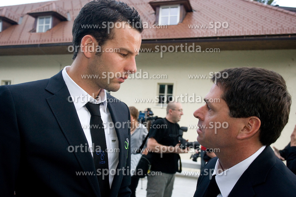 Samir Handanovic and Martin Magister at official presentation of Slovenian National Football team for World Cup 2010 South Africa, on May 21, 2010 in Congress Center Brdo at Kranj, Slovenia. (Photo by Vid Ponikvar / Sportida)