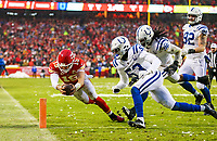 Kansas City Chiefs quarterback Patrick Mahomes (15) dives for a touchdown during an NFL divisional football playoff game in Kansas City, Mo., Saturday, Jan. 12, 2019. <br /> ( Tom DiPace)