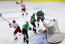 Rok Ticar of Acroni Jesenice and Andrei Makrov of Acroni Jesenice celebrate after Makrov scored the gold goal at 6th Round of ice-hockey Slovenian National Championships match between HDD Tilia Olimpija and HK Acroni Jesenice, on April 2, 2010, Hala Tivoli, Ljubljana, Slovenia.  Acroni Jesenice won 3:2 after overtime and became Slovenian National Champion 2010. (Photo by Vid Ponikvar / Sportida)