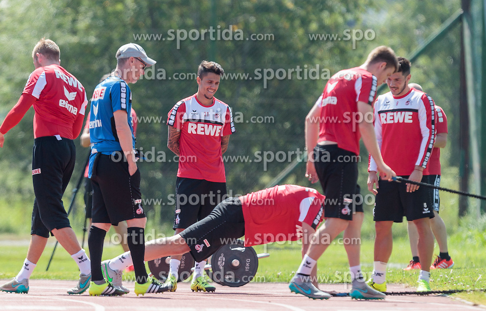 20.07.2015, Stadion Langau, Kitzbuehel, AUT, 1. FC Koeln, Trainingslager, im Bild v.l.: Peter Stoeger (1. FC Koeln), Leonardo Bittencourt (1. FC Koeln), Milos Jojic (1. FC Koeln) // during the Trainingscamp of German Bundesliga Club 1. FC Colgone at the Stadium Langau in Kitzbuehel, Austria on 2015/07/20. EXPA Pictures © 2015, PhotoCredit: EXPA/ JFK
