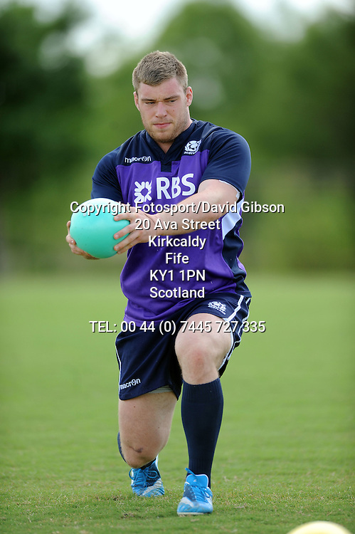 Alex Allan - Scotland prop during the warm up.<br /> Scotland rugby union training, Houston Sports Club, Houston, Texas, USA, Tuesday 3 June 2014.<br /> Please credit: ***Fotosport/David Gibson***