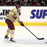 Kevin Hayes #12 of the Boston College Eagles passes the puck during The Beanpot Championship Game at TD Garden on February 10, 2014 in Boston, Massachusetts. (Photo by Elan Kawesch)
