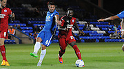 Roary Deacon trying to force a way through during the Capital One Cup match between Peterborough United and Crawley Town at London Road, Peterborough, England on 11 August 2015. Photo by Michael Hulf.