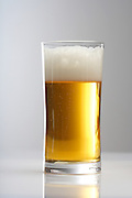 Close up of glass of beer