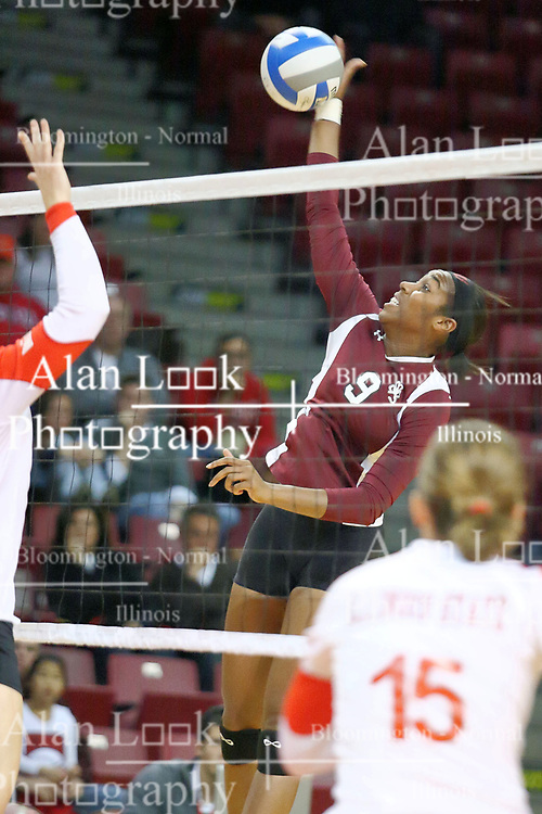 05 November 2010: Jasmine Conner looks for a kill during an NCAA volleyball match between the Southern Illinois Salukis and the Illinois State Redbirds at Redbird Arena in Normal Illinois.