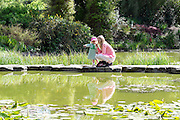 © Licensed to London News Pictures. 13/05/2015. Cliveden, UK. A young girl and woman look for fish in the Water Garden.  Visitors to the National Trust property Cliveden House enjoy the warm and sunny weather today 13th May 2015. Photo credit : Stephen Simpson/LNP