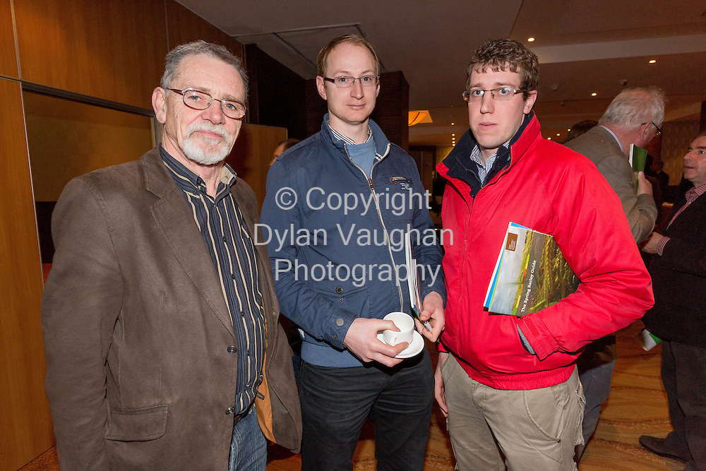 Repro Free No Charge for Repro<br /> 29-1-15<br /> Greening, Yields and Good Pesticide Practice: key themes at Teagasc National Tillage Conference.<br /> <br /> Pictured at the conference was from left Paul O'Doherty, CPSA; Trevor Cook, NAD and Daniel Norris, NAD.<br /> <br /> At the Teagasc National Tillage conference in Kilkenny today, Thursday, 29 January, Paud Evans of the Department of Agriculture, Food and the Marine presented the latest information on CAP reform and &lsquo;Greening&rsquo;. Teagasc adviser Ivan Whitten and Kildare farmer Tim Ronaldson explained what they have been doing to ensure compliance from a practical point of view, Ivan stressed that &lsquo;Urgent action is needed and farmers must pay close attention to their obligations in order to optimise their own situation&rsquo;.<br /> The reform of the Common Agricultural Policy and the move from the single farm payment to the Basic Payment Scheme will significantly reduce the payments made to tillage farmers in Ireland, and the reductions will increase over the coming five years. A proportion of this shortfall can be made up by ensuring that their farms comply with &lsquo;greening&rsquo; requirements, the associated payments can make up 30% of the total payments available.<br /> Speaking at the conference John Spink pointed out, however, that &lsquo;the key to the future profitability of the tillage sector is to exploit our high yield potential with rotations playing a key role. He said that three of the main factors which determine profitability in good rotations are: profitable break crops, cost effective and sustainable disease control, and an understanding of crop growth and yield formation. These three factors will together maximise yield.&rsquo;<br /> The new Teagasc/IFA funded break crop research programme was presented by John Carroll outlining bean agronomy for the coming season for those looking to introduce a new crop into their rotation to comply with the 3 crop rule and avail of up 