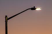 Power efficient LED street lighting along a residential street in Oregon City.