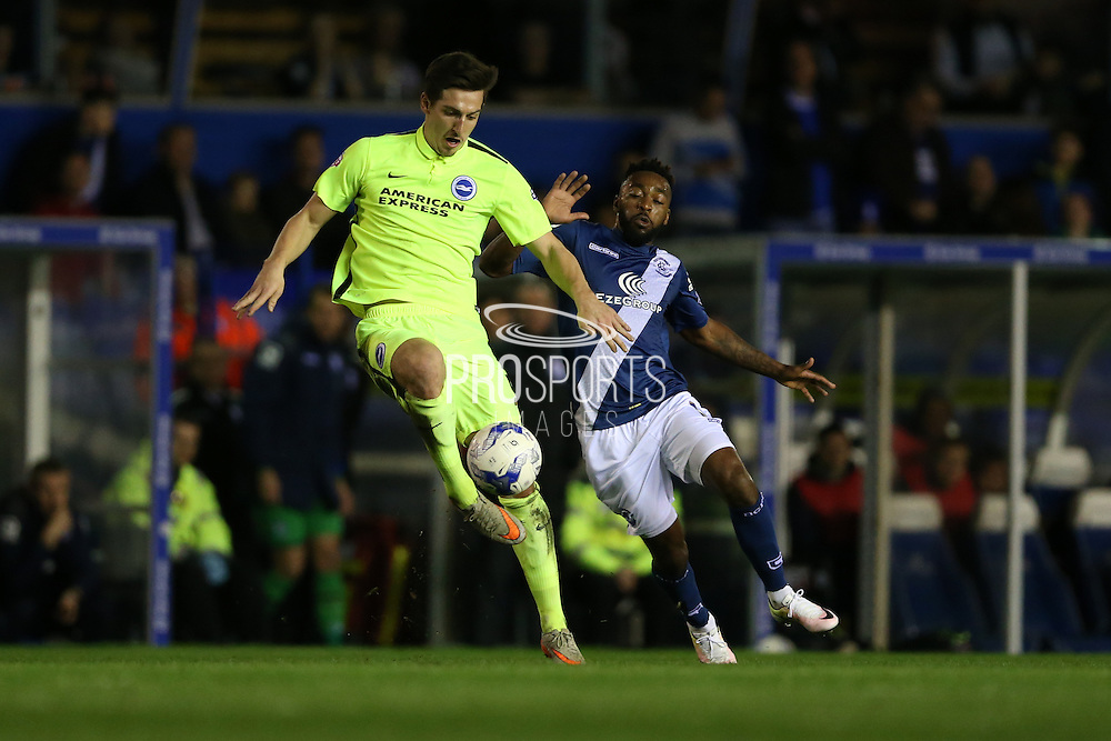 Brighton central defender, Lewis Dunk (5) during the Sky Bet Championship match between Birmingham City and Brighton and Hove Albion at St Andrews, Birmingham, England on 5 April 2016.