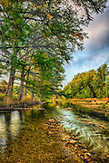 Frio River at Concan, Texas, in the Texas Hill Country, cypress trees.