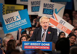 © Licensed to London News Pictures. 06/11/2019. Birmingham, UK. Prime Minister Boris Johnson launches the Conservative Party election campaign at the NEC in Birmingham. Today is the first official day of the 2019 general election. Voters go to the polls on December 12th 2019. Photo credit: Peter Macdiarmid/LNP