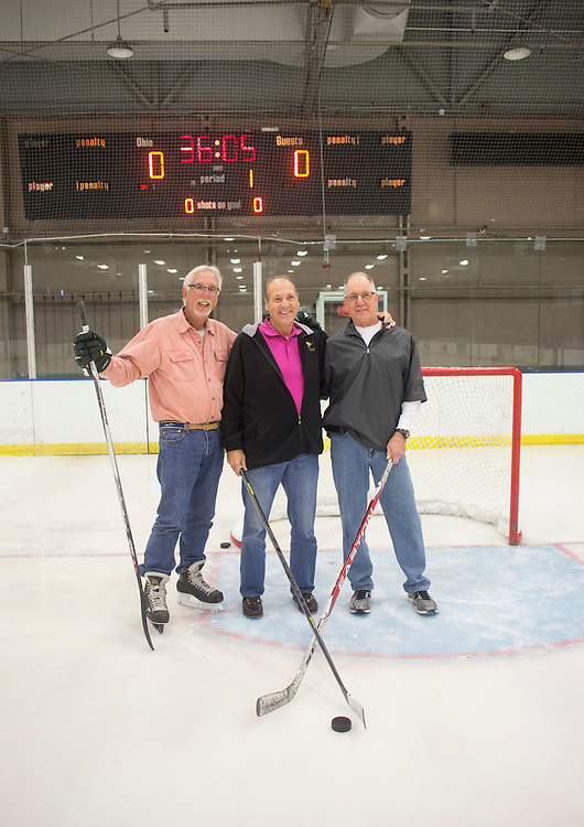 Frank Meyers, left, Pete Sisson, center, and Harry Williams pose for a portrait in Bird Arena on October 1, 2016.