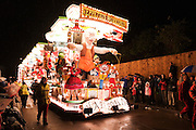 Photograph of Geppetto's Workshop by Harlequins CC, runner-up in the feature cart open class, at the 2010 Bridgwater Guy Fawkes Carnival.