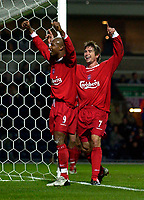 Photo. Jed Wee.<br /> Blackburn Rovers v Liverpool, Carling Cup, Ewood Park, Blackburn. 29/10/03.<br /> Liverpool's Harry Kewell (R) celebrates his goal with El Hadji Diouf.