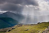 Rain squall in the Chugach Mountains near Thompson Pass Alaska USA