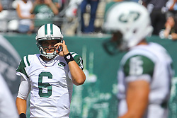 Sept 9, 2012; East Rutherford, NJ, USA; New York Jets quarterback Mark Sanchez (6) and New York Jets quarterback Tim Tebow (15) during the pre-game warmup for their game against the Buffalo Bills at MetLIfe Stadium.
