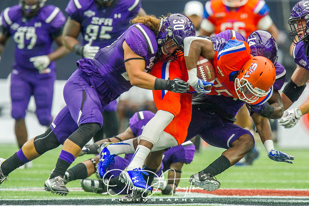 Sam Houston State wide receiver LaDarius Brown (85) pushes across the 50 yard line for a first down in the Bearkats' 42-24 win over Stephen F. Austin on Saturday, Oct. 28, 2017, in Houston. Sam Houston State has won seven straight games in the overall series against their East Texas rivals. (Photo/Olyn D. Taylor)