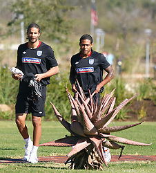 09.06.2010, Sports Campus, Rustenburg, RSA, FIFA WM 2010, England Training im Bild David James arrives for training with Glen Johnson, EXPA Pictures © 2010, PhotoCredit: EXPA/ IPS/ Mark Atkins / SPORTIDA PHOTO AGENCY