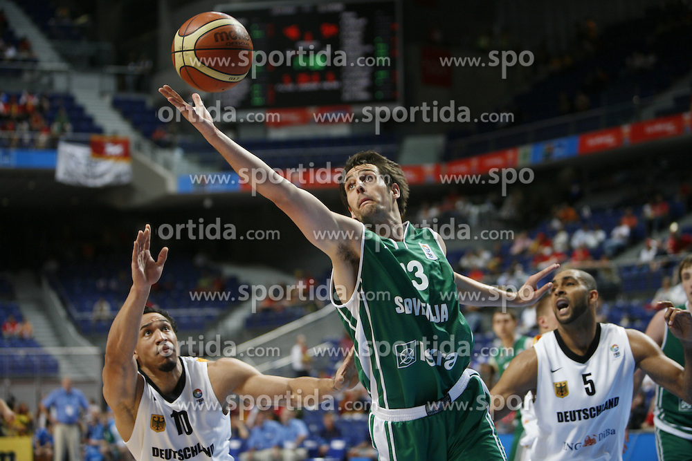 Basketball player Domen Lorbek of Slovenia, Eurobasket 2007, Madrid.  (Photo by Vid Ponikvar/Sportida)