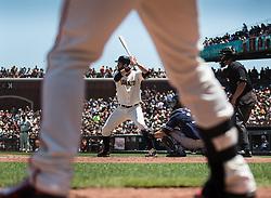 Brandon Belt (Batting), Brandon Crawford (legs) on the on-deck circle, 2015.