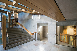 View of interior architecture of Scottish Parliament Building in Holyrood, Edinburgh, Scotland, United Kingdom