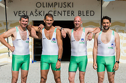 Sadik Mujkic, Milan Jansa, Jani Klemencic and Denis Zvegelj of Slovenian rowing team 25-years after Olympic medals in Barcelona 1992 before practice session preparing for World Rowing Masters Regatta Bled 2017, on July 13, 2017 at Lake Bled, Slovenia. Photo by Vid Ponikvar / Sportida