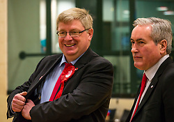 Haddington & Lammermuir by-election count. Haddington, East Lothian, Scotland, United Kingdom, 10 May 2019. Pictured:   Martin Whitfield, East Lothian MP and Iain Gray, Scottish Labour MSP. The election takes place of one councillor in Ward 5 of East Lothian Council due to the resignation of Councillor Brian Small. The successful candidate represents this ward along with the three existing councillors. The by-election uses the Single Transferable Vote (STV) system in which voters can rank candidates in order of preference and can choose to vote for as many or as few candidates as they like. The election fields 5 candidates from Scottish National Party (SNP), Scottish Labour Party, Scottish Conservatives and Unionist Party, Scottish Liberal Democrats and UK Independence Party (UKIP).<br /> <br /> Sally Anderson | EdinburghElitemedia.co.uk