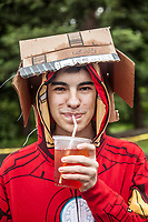 """Deer Park high school senior Dayton Ochoa at the Saturday Market in Calistoga  """"I picked up the box at the post office...it seems to work.""""  """"I want to be an actor."""""""