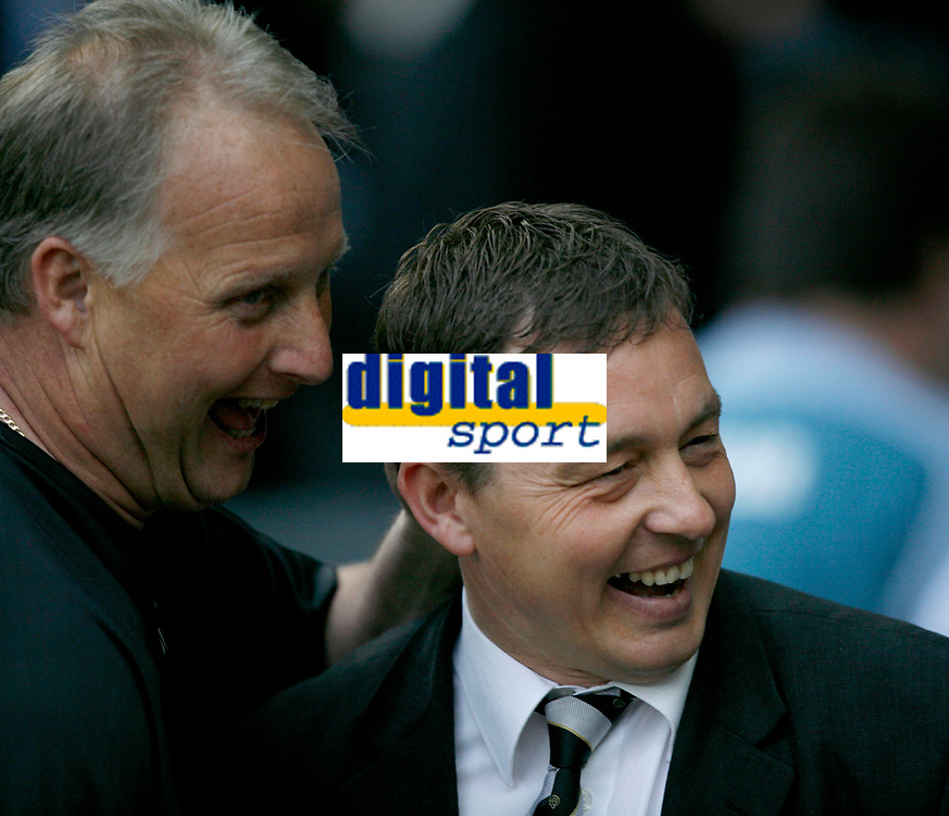Photo: Steve Bond.<br /> Derby County v Luton Town. Coca Cola Championship. 20/04/2007. Kevin Blackwell (R) shares a joke with Billy Davies (R) before the game