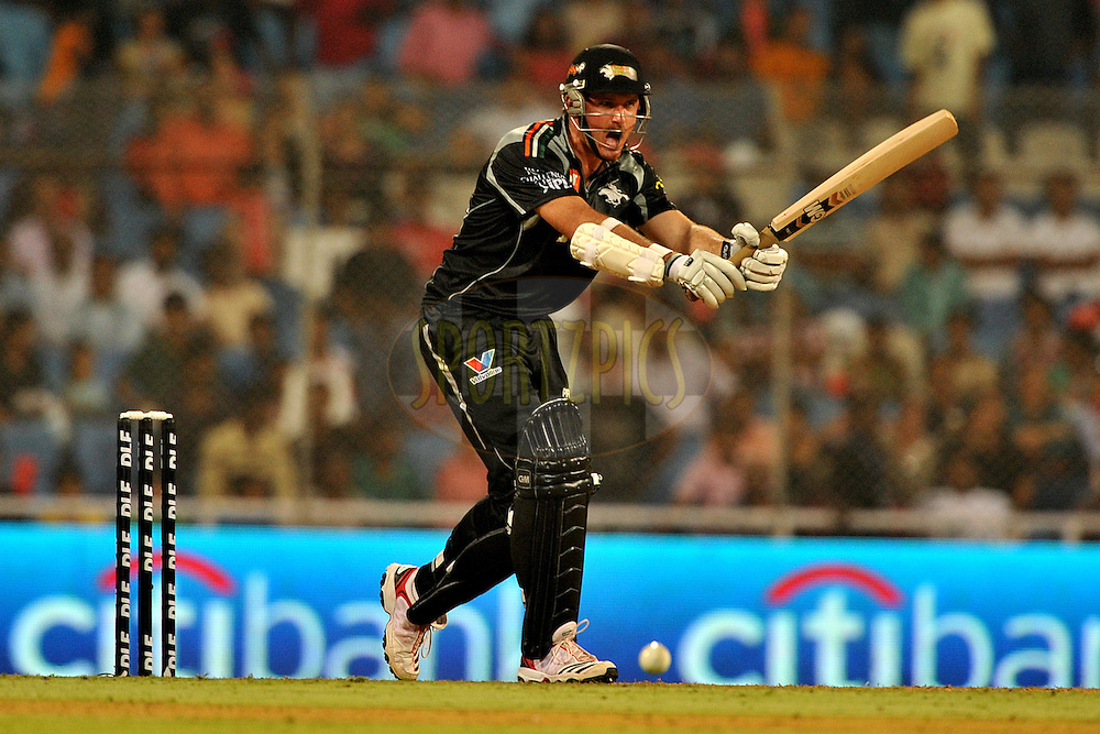 Graeme Smith of Pune Warriors India bats during  match 10 of the Indian Premier League ( IPL ) Season 4 between the Pune Warriors and the Kochi Tuskers Kerala held at the Dr DY Patil Sports Academy, Mumbai India on the 12th April 2011..Photo by Pal Pillai /BCCI/SPORTZPICS