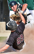 (WORCESTER MA 061816)-The ball gets away from North Reading catcher John Merullo as Groton Dunstable's Matthew Naughton is safe at home. Herald photo by Chris Christo