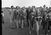 President Hillery at The Community Games..1979..15.09.1979..09.15.1979..15th September 1979..President Patrick Hillery attended the opening of The National Community Games finals at Mosney, Co Meath today. The finals were held in the grounds of The Butlins Holiday Centre and were sponsored by Tayto Irl Ltd,Greencastle Road,Coolock,Dublin..Image shows President Patrick Hillery touring the games site.
