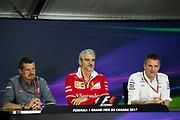 June 8-11, 2017: Canadian Grand Prix. Guenther Steiner, Haas F1 Team Principle. Maurizio Arrivabene, team principal of Scuderia Ferrari, James Allison, Mercedes Technical Director