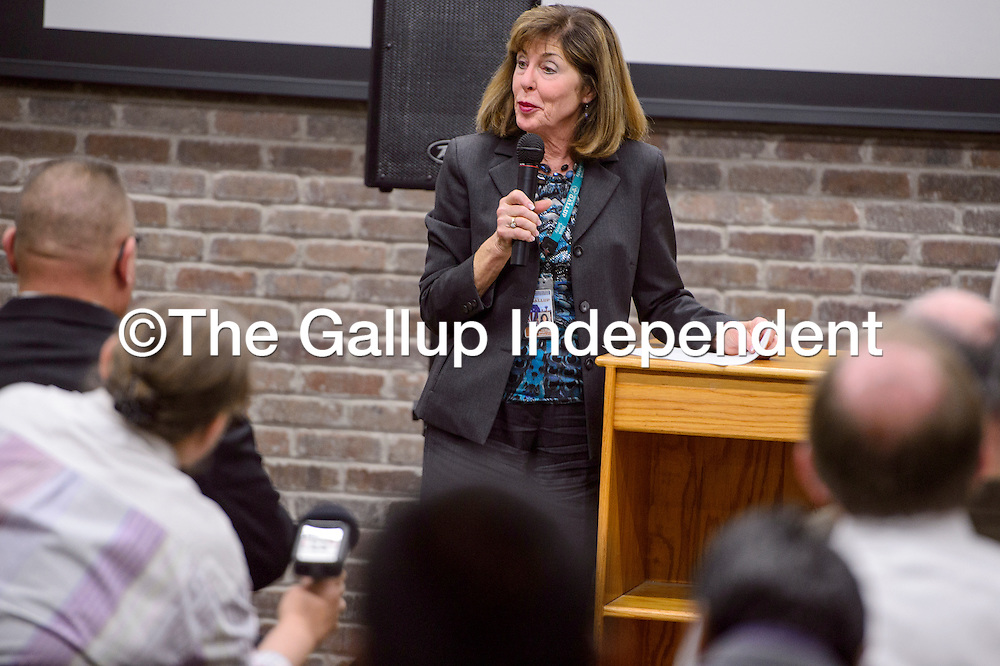 Gallup City Manager Maryann Ustick introduces the Chief of Police candidates during a meet and greet at the Second Street Event Center in Gallup Tuesday.