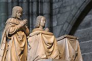 Praying figures, Funerary monument of Louis XII (1462 - 1515) and Anne of Brittany (1477 - 1514), 1516 - 1531, Marble of Carrara, by Giovani di Giusto Betti, Abbey church of Saint Denis, Seine Saint Denis, France. Picture by Manuel Cohen