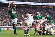 Twickenham, United Kingdom.   Natwest 6 Nations : England vs Ireland. Richard Wigglesworth, kicking clear, at the RFU Stadium, Twickenham, England, <br /> <br /> Saturday   17.03.18<br /> <br /> [Mandatory Credit; Peter Spurrier/Intersport-images]