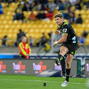 Jordie Barrett kicks during the Super Rugby union game between Hurricanes and Sunwolves, played at Westpac Stadium, Wellington, New Zealand on 27 April 2018.   Hurricanes won 43-15.