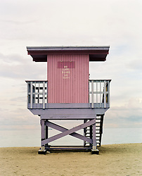 Lifeguard station at the beach in Miami