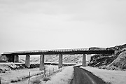 Infrared photograph of a bridge in Mesa, WA.  Fine art photography by Michael Kloth. Black and white infrared photographs