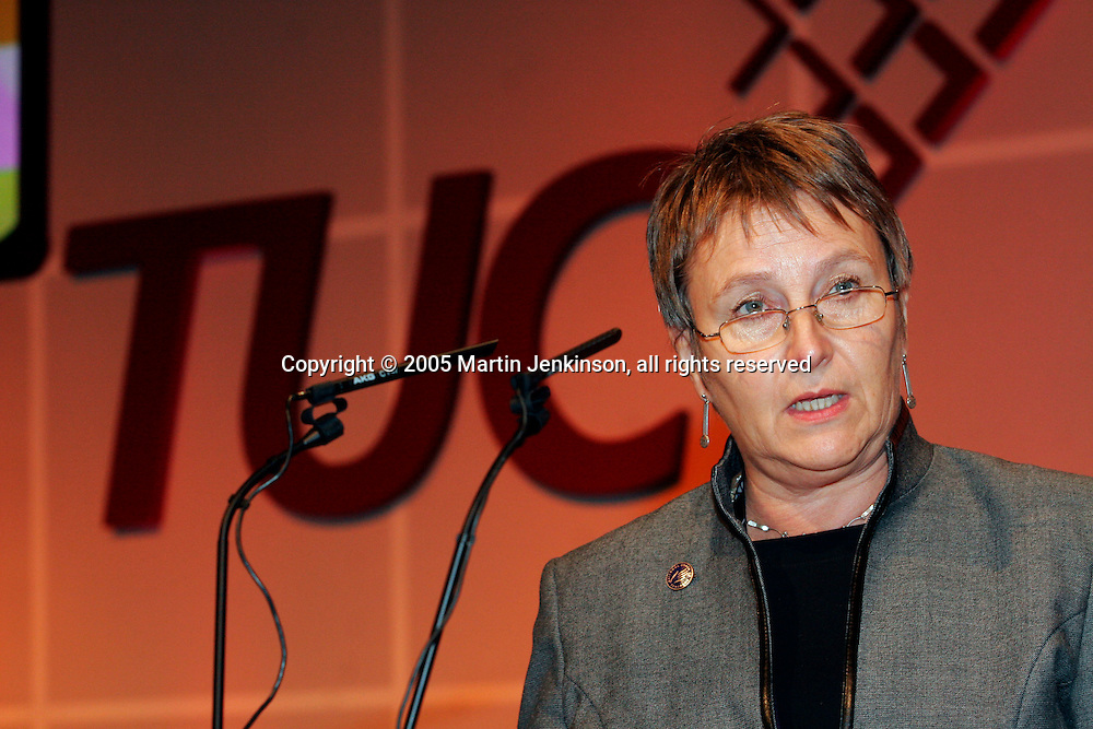 Hilary Bills, President NUT, speaking at the TUC...© Martin Jenkinson, tel/fax 0114 258 6808 mobile 07831 189363 email martin@pressphotos.co.uk. Copyright Designs & Patents Act 1988, moral rights asserted credit required. No part of this photo to be stored, reproduced, manipulated or transmitted to third parties by any means without prior written permission