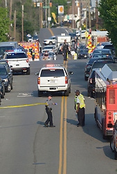 June 14, 2017 - Alexandria, Virginia, U.S. - Police start to close off a baseball field adjacent to YMCA in Del Ray area. After multiple shots were heard shortly after 7:00AM law enforcement and emergency medical personnel at the 400 block of E Monroe Ave in the DelRay neighborhood of northern Alexandria in the nation's capital. Congressman Scalise was hot and others were injured too. (Credit Image: © Essdras M Suarez/ZUMA Press)