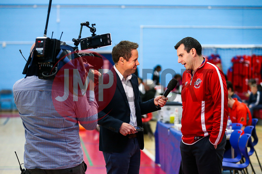 Bristol Flyers head coach Andreas Kapoulas is interviewed by Ali Durden live on BBC Points West before the game - Rogan Thomson/JMP - 28/04/2017 - BASKETBALL - SGS Wise Arena - Bristol, England - Bristol Flyers v Newcastle Eagles - BBL Championship Play-Off Quarter Final First Leg.