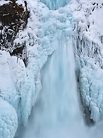 Aldeyjarfoss waterfall in winter. North Iceland.