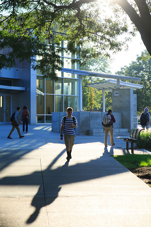 Students walking on campus in the morning. <br /> <br /> Sept. 16, 2014