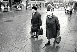 Elderly women shopping in Nottingham, UK 1989