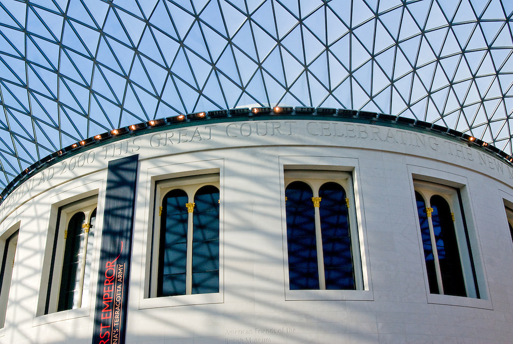 Exterior of the Reading Room in The Great Court of the British Museum in London. Originally founded by Sir Hans Sloane in 1753, The museum houses over 13 million objects originating from all continents.