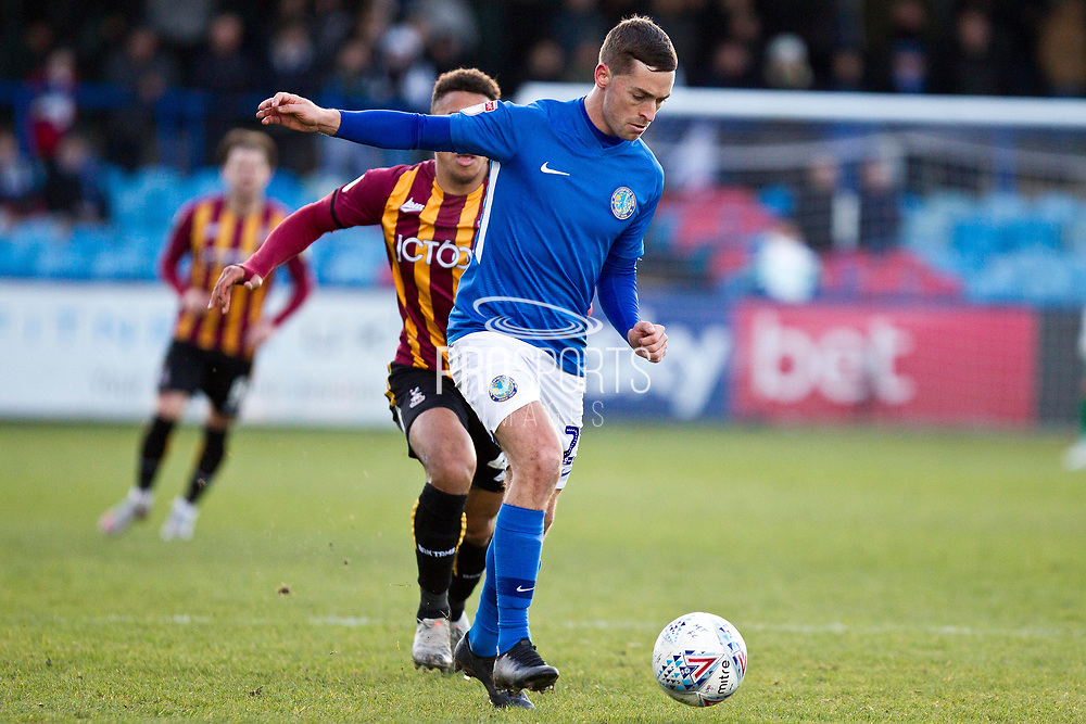 Macclesfield Town defender David Fitzpatrick in action during the EFL Sky Bet League 2 match between Macclesfield Town and Bradford City at Moss Rose, Macclesfield, United Kingdom on 30 November 2019.